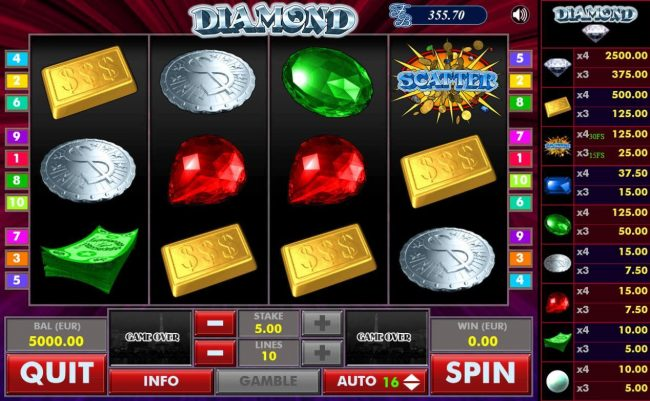 Diamond :: Main game board featuring five reels and 10 paylines with a $2,500 max payout.