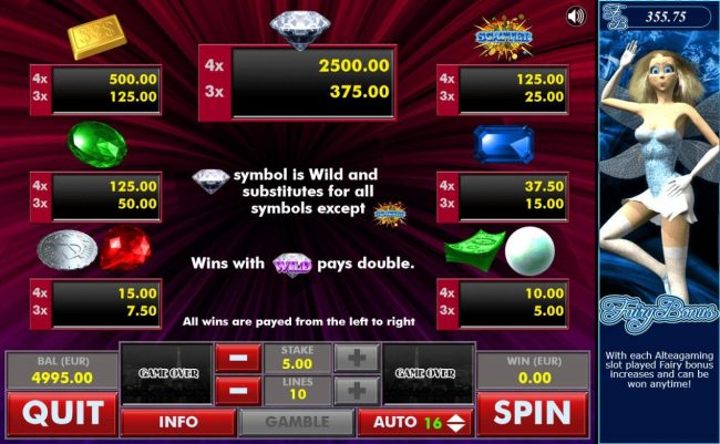 Diamond :: Symbols Paytable