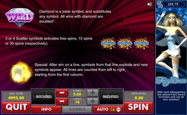 Diamond :: Diamond Wild and Scatter Symbol Rules
