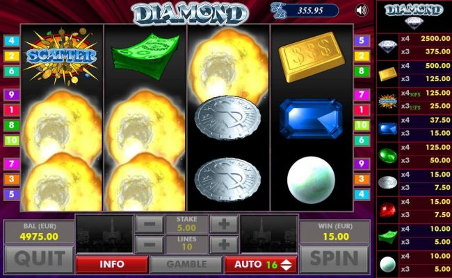 Diamond :: After all wins are paid, winning symbols are exploded and new symbols drop in place giving player another chance at more wins