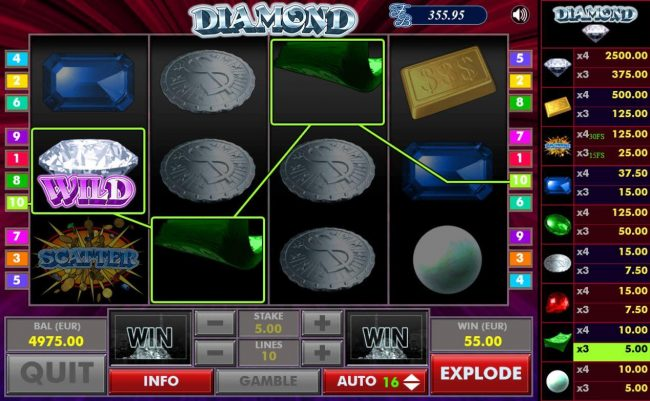 Diamond :: Newly dropped symbols trigger an additional win for the player