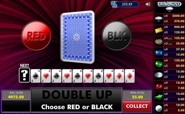 Diamond :: Gamble Feature - To gamble any win press Gamble then select Red or Black