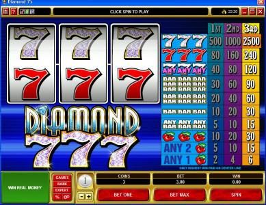 Play slots at Lucky 247: Lucky 247 featuring the Video Slots Diamond 7s with a maximum payout of $37,500