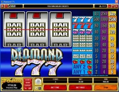 Reel Vegas featuring the Video Slots Diamond 7s with a maximum payout of $37,500