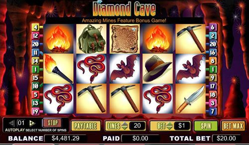 Noxwin featuring the video-Slots Diamond Cave with a maximum payout of 5,000x