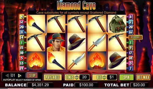 Bonanza featuring the video-Slots Diamond Cave with a maximum payout of 5,000x
