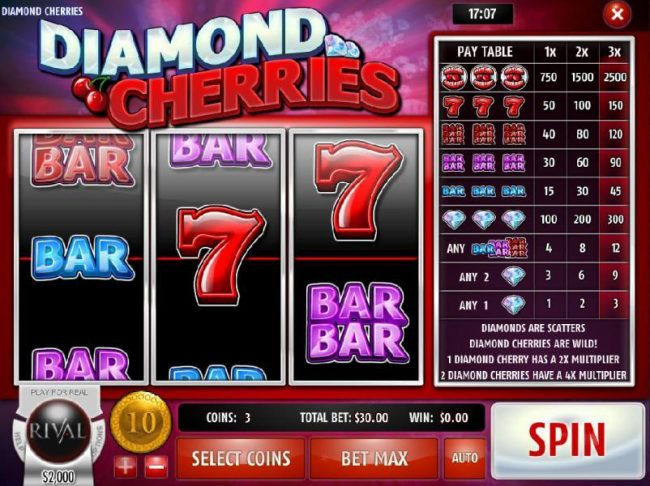 Play slots at Golden Lady: Golden Lady featuring the Video Slots Diamond Cherries with a maximum payout of $75,000
