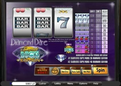 Play slots at Ducky Luck: Ducky Luck featuring the Video Slots Diamond Dare Bucks Edition with a maximum payout of $2,500