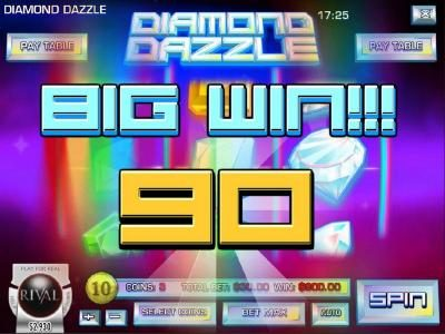 A winning combination of white diamond symbols triggers a 900.00 big win!