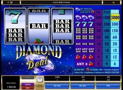 Slots Cafe featuring the Video Slots Diamond Deal with a maximum payout of $9,000