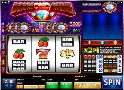 Wicked Bet featuring the Video Slots Diamond Mine with a maximum payout of 10,000