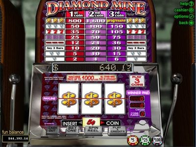 Play slots at Fair Go: Fair Go featuring the Video Slots Diamond Mine with a maximum payout of $37,500