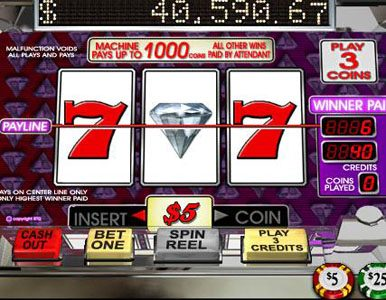 Sloto Cash featuring the Video Slots Diamond Mine with a maximum payout of $37,500