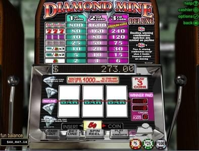 Mega 7's featuring the Video Slots Diamond Mine Deluxe with a maximum payout of $45,000