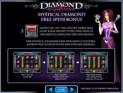 Casino Club featuring the Video Slots Diamond Queen with a maximum payout of $250,000