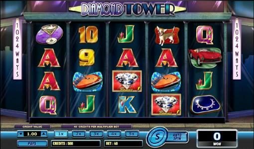 Diamond Tower :: main game board featuring five reels and 1024 ways to win