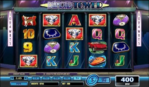 Jackpot Mobile featuring the Video Slots Diamond Tower with a maximum payout of $2,000