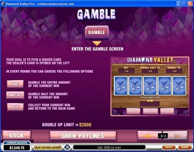 EuroMax Play featuring the Video Slots Diamond Valley Pro with a maximum payout of $200,000