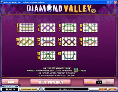 Betfair featuring the Video Slots Diamond Valley Pro with a maximum payout of $200,000