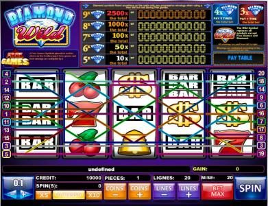 Leo Vegas featuring the Video Slots Diamond Wild with a maximum payout of Jackpot