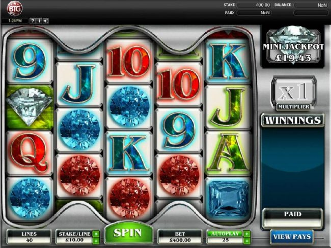 Diamonds :: Main game board featuring five reels with 4 different jackpots for max payout