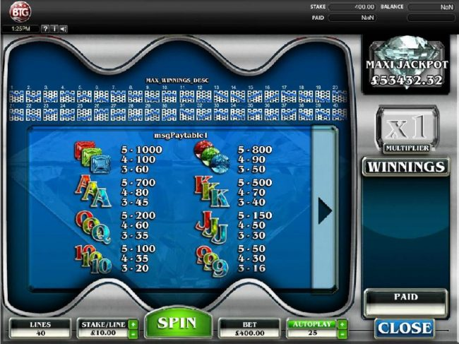 Diamonds :: Slot game symbols paytable and Payline Diagrams 1-40