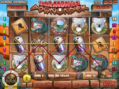 Diamonds Downunder :: multiple winning paylines triggers a $110 payout