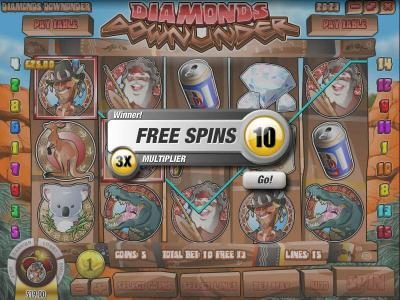 Vegas Aces featuring the Video Slots Diamonds Downunder with a maximum payout of $25,000