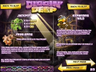 Crazy Luck featuring the Video Slots Diggin' Deep with a maximum payout of $2,500
