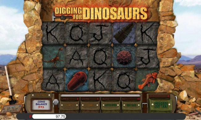 Jupiter Club featuring the Video Slots Digging for Dinosaurs with a maximum payout of $10,000