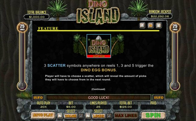 All Star Slots featuring the Video Slots Dino Island with a maximum payout of $12,500