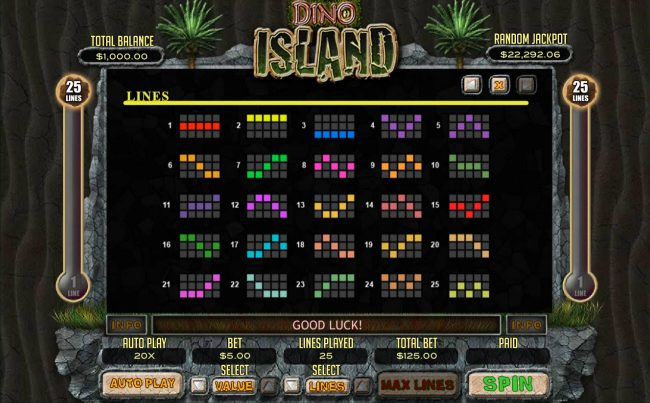 Sloto Cash featuring the Video Slots Dino Island with a maximum payout of $12,500
