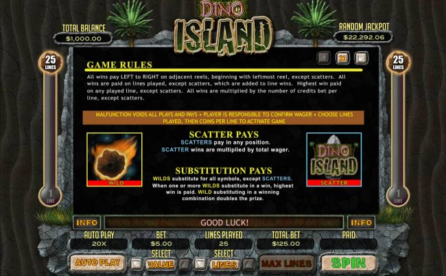 Slots of Vegas featuring the Video Slots Dino Island with a maximum payout of $12,500