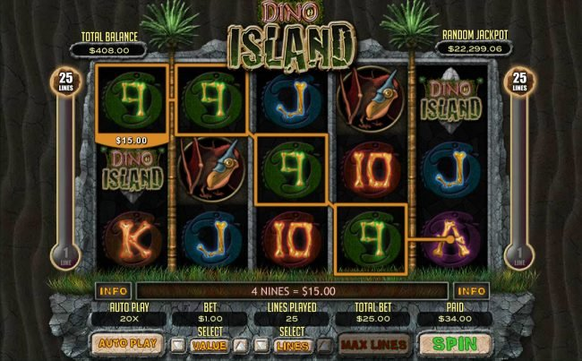 Diamond Reels featuring the Video Slots Dino Island with a maximum payout of $12,500