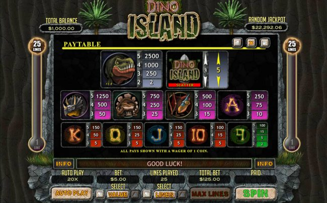 Slotastic featuring the Video Slots Dino Island with a maximum payout of $12,500