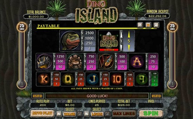 Play slots at iNET Bet: iNET Bet featuring the Video Slots Dino Island with a maximum payout of $12,500
