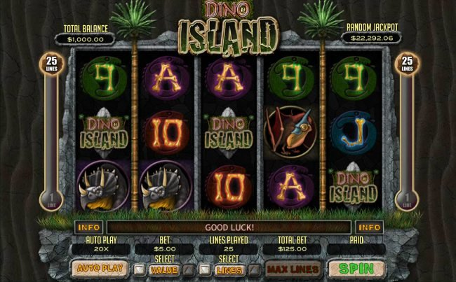 Play slots at 99 Slot Machines: 99 Slot Machines featuring the Video Slots Dino Island with a maximum payout of $12,500