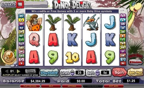 Play slots at Zinger Spins: Zinger Spins featuring the video-Slots Dino Delight with a maximum payout of 25,000x