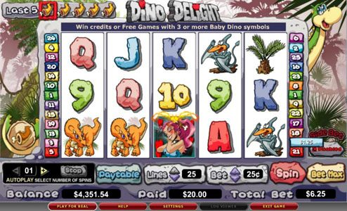 Shadowbet featuring the video-Slots Dino Delight with a maximum payout of 25,000x