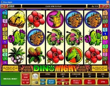 Play slots at Lucky Nugget: Lucky Nugget featuring the Video Slots Dino Might with a maximum payout of $40,000