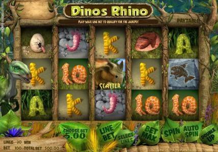 Play slots at Solara: Solara featuring the Video Slots Dino's Rhino with a maximum payout of $4,000