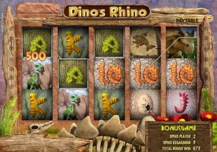 Solara featuring the Video Slots Dino's Rhino with a maximum payout of $4,000