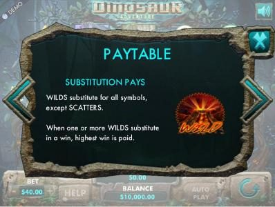 Joy Casino featuring the Video Slots Dinosaur Adventure with a maximum payout of $1,600,000