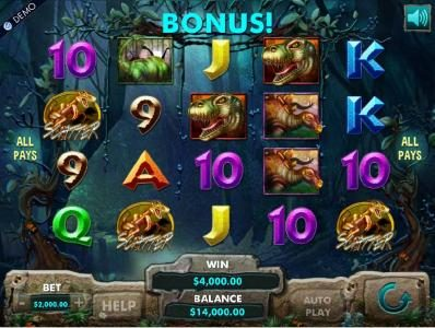 Wintingo featuring the Video Slots Dinosaur Adventure with a maximum payout of $1,600,000