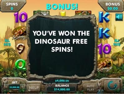 Dinosaur Free Spins awarded.