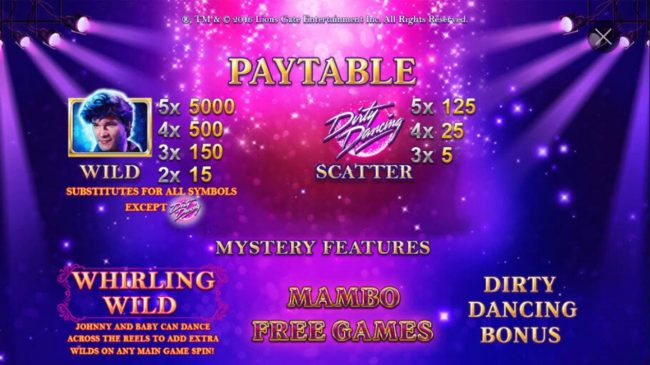 Dirty Dancing :: Wild and Scatter Symbols Rules and Pays