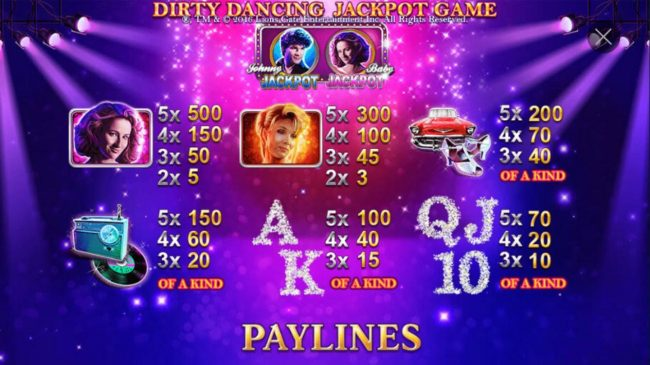 High value slot game symbols paytable featuring American musical romance film insprired icons.