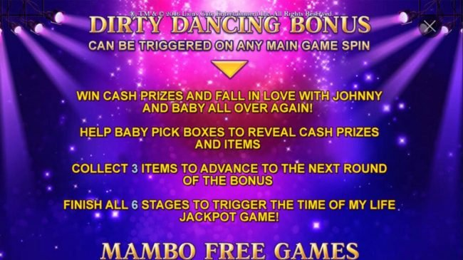 Euro Grand featuring the Video Slots Dirty Dancing with a maximum payout of Jackpot