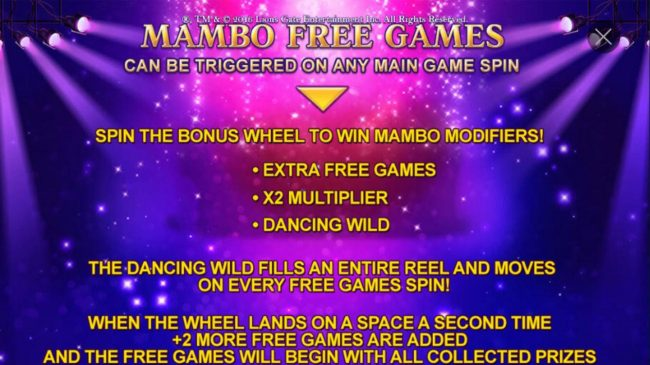 Mambo Free Games can be triggered on any main game spin.