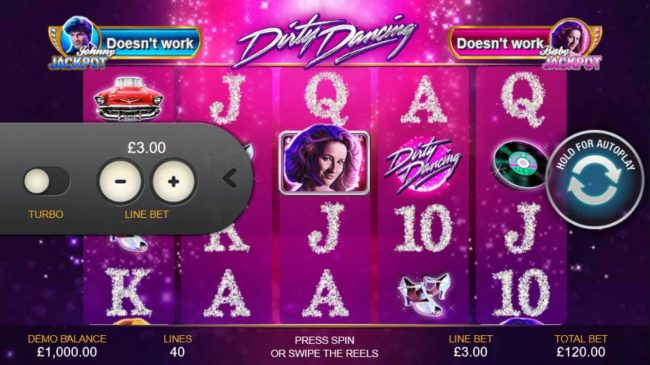 Dirty Dancing :: Click on the side menu button to adjust the coin value.